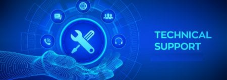 CGI image of a hand and tools for technical support on blue background