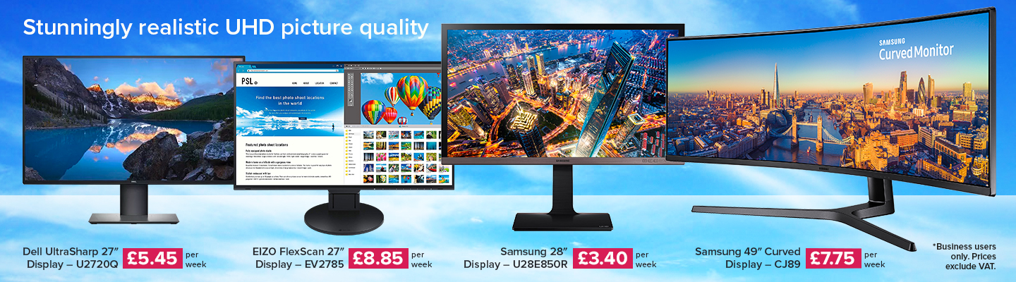"4 Monitors with Stunning Realistic UHD Picture quality, Dell 27"", Eizo FlexScan 27"", Samsung 28"" & Samsung 49"" Curved display"