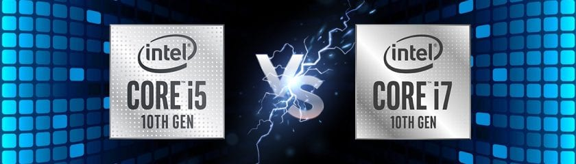 Black bacground with electric blue squares and an Intel Core i5 and Intel Core i7 label with Vs between them