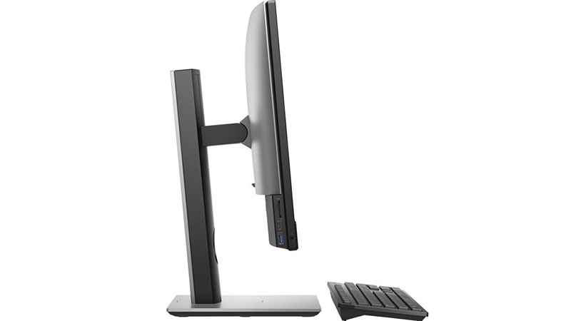 """Dell Optiplex 7480 24"""" All In One side view of monitor and keyboard"""