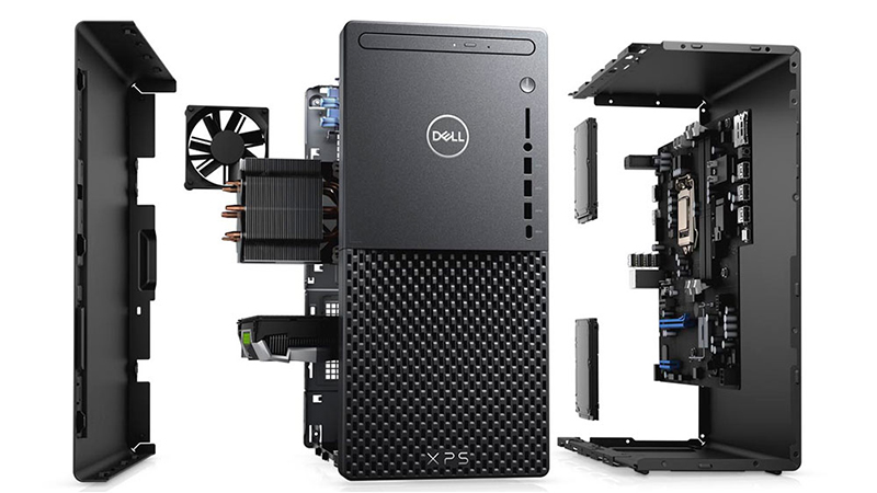 Dell XPS 8940 Desktop PC showing it broken apart with all of the parts