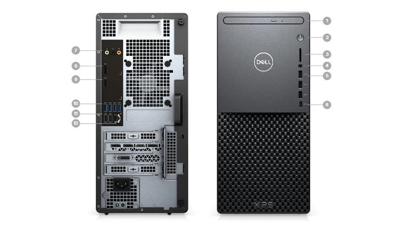 Dell XPS 8940 Desktop PC showing front and back ports