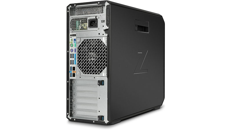 HP Z4 G4 Tower Workstation back view of ports and side