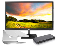 Work From Bundle with LG display, mStand and CalDigit USB-C Pro Dock