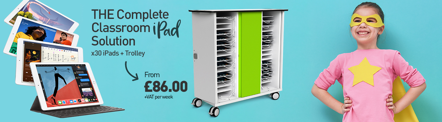 The Complete classroom iPad solution x 30 iPads + Trolley from £86 + VAT per week