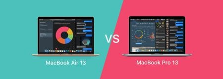 """Turquoise and Pink background with MacBook Air 13"""" and MacBook Pro 13"""" and versus in between"""