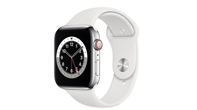 Apple Watch Silver Stainless Steel Case with White Sport Band