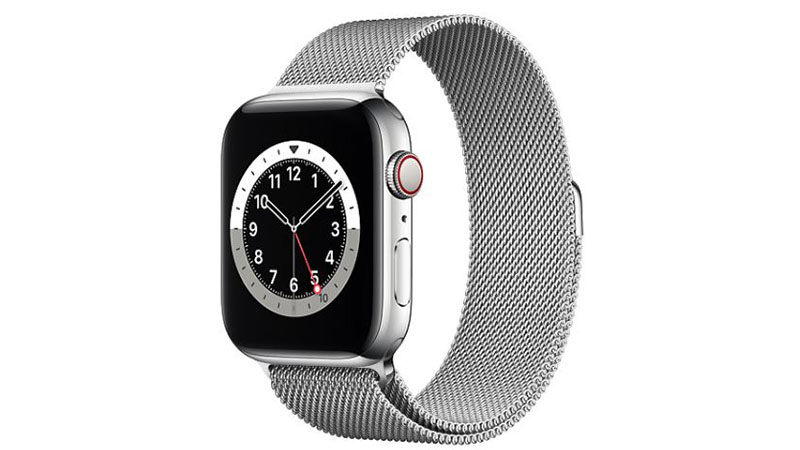 Apple Watch Silver Stainless Steel Case with Silver Milanese Loop