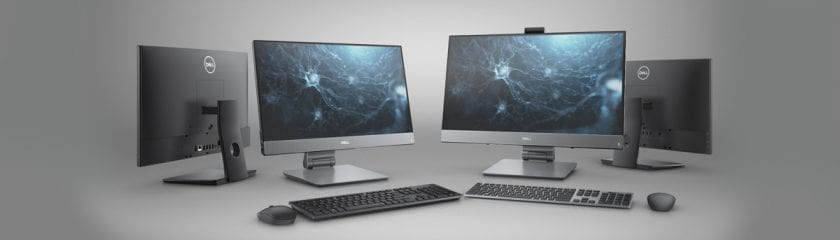 Front and rear views of the Dell Optiplex 7480 All-in-One PC on a white/grey background