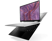 Dell XPS 13 9310 2-in-1 showing front open and in tablet mode