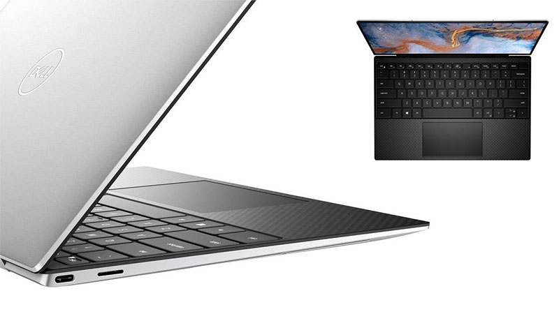 Dell XPS 13 9310 2-in-1 showing back view and keyboard view