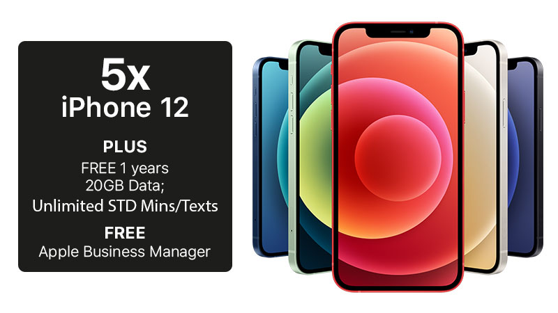 Get 5 Apple iPhone 12's with Data and Apple Business Manager