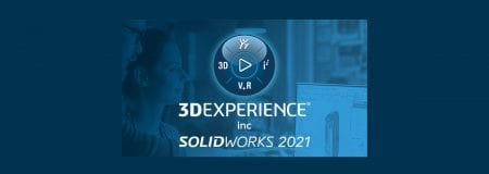 SOLIDWORKS 3DExperience 2021 logo on blue background