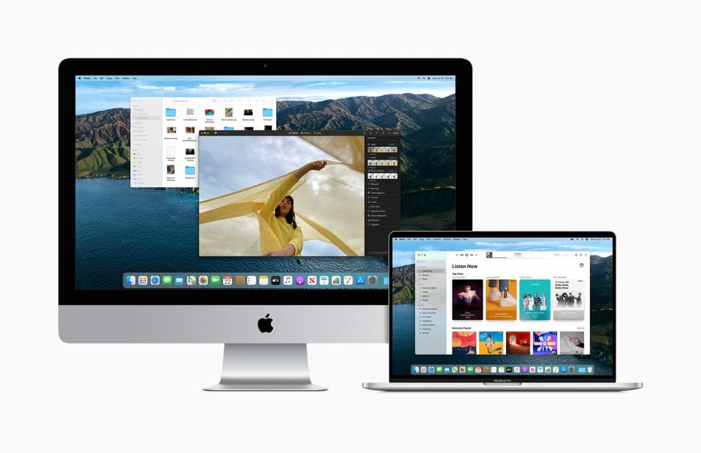 iMac and MacBook on white background both with Big Sur macOS on screens