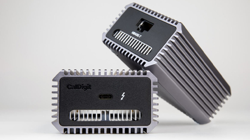 CalDigit Connect 10G 10Gb Thunderbolt 3 Ethernet Adapter showing from 2 separate angles showing thunderbolt port and NBASE-T