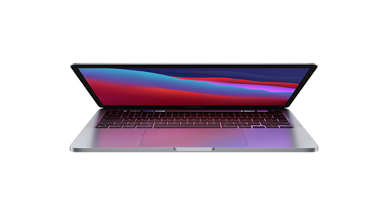 """MacBook Pro 13"""" Space Grey slightly open showing front of laptop"""