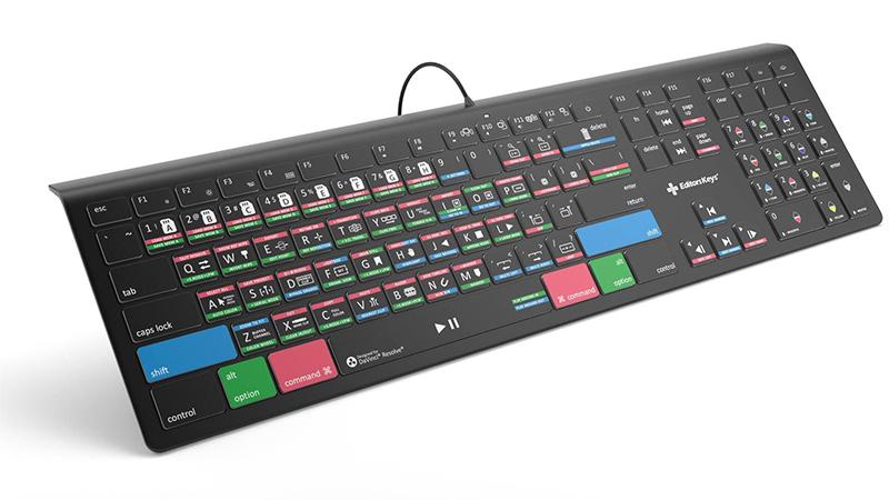 DaVinci Resolve 17 Keyboard - Backlit Mac or PC showing keys