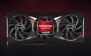 AMD Radeon 6000 GPU on a black/red background