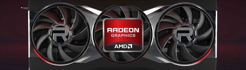 AMD Radeon 6000 GPU on a black/red background