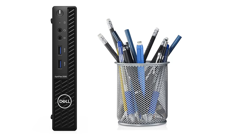Dell Optiplex 3080 Micro Form Factor front view showing how big it is compared to a stationery holder