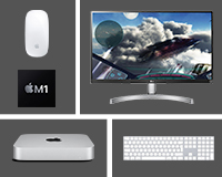 "Bundle deal includes Mac Mini with Apple Magic Keyboard, Magic Mouse 2 and LG 27"" Display"
