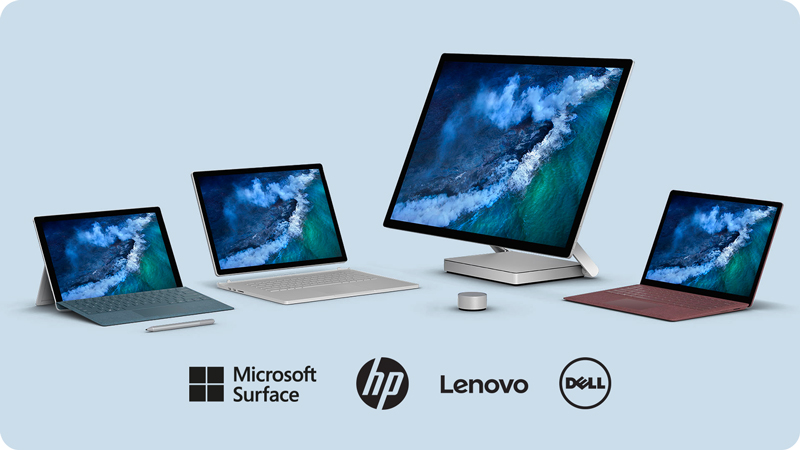 Collection of Windows devices to illustrate devices for teams offering from HardSoft