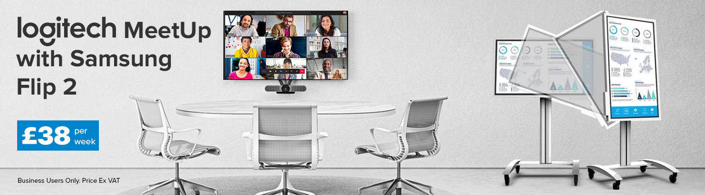 "logitech group video conferencing with samsung 55"" display in a meeting room"