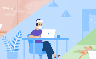 Illustration of 3 characters working from home in different environments