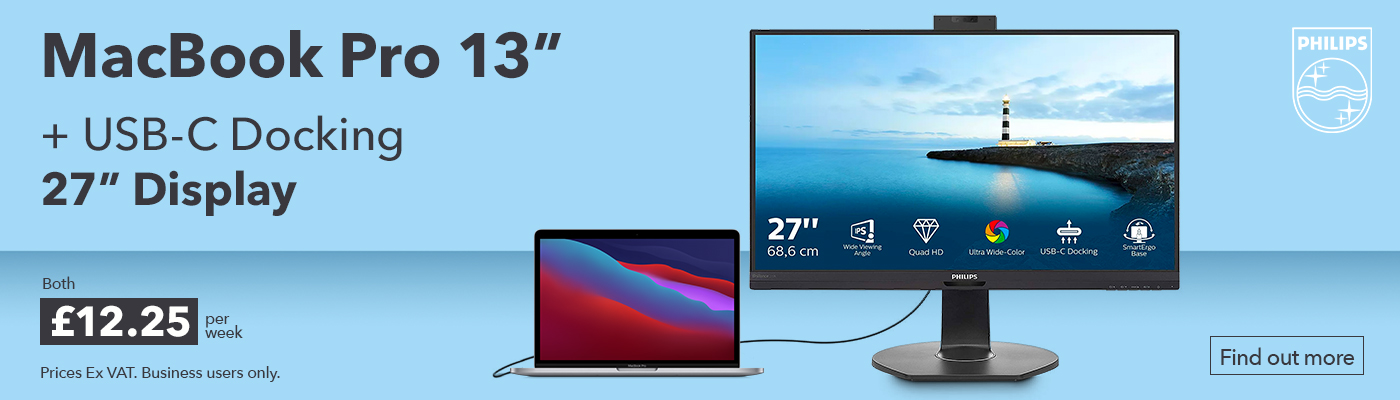"MacBook Pro 13"" with Philips 27"" USB-C docking unit bundle offer from HardSoft"