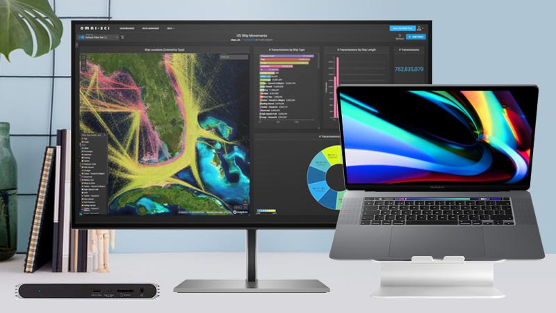"MacBook Pro 16"" with HP 27"" display, Caldigit Pro dock and Rain stand"