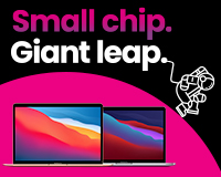 """Small chip. Giant leap. 5 x MacBook Air, 5 x MacBook Pro 13"""", All 10 Apple devices for £65 per week"""