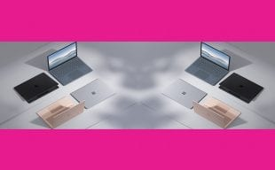 Surface laptops on table showing multiple colour ways